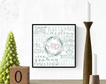 Christmas Activities Calligraphy Wall Art