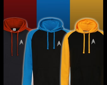 Star Trek Baseball Hoodie. Available in three divisional colours,  Red, Gold and Blue