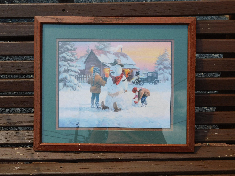 Home Interiors Jack Sorenson Children Building Cowboy Snowman Framed Picture