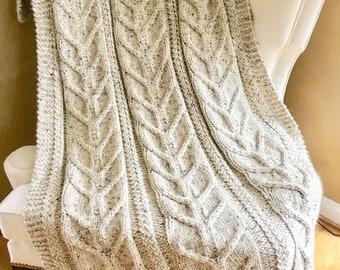Chunky cable blanket/handmade chunky knit throw/knit cable blanket/super chunky wool cable blanket/knit cable afghan/custom knit blanket