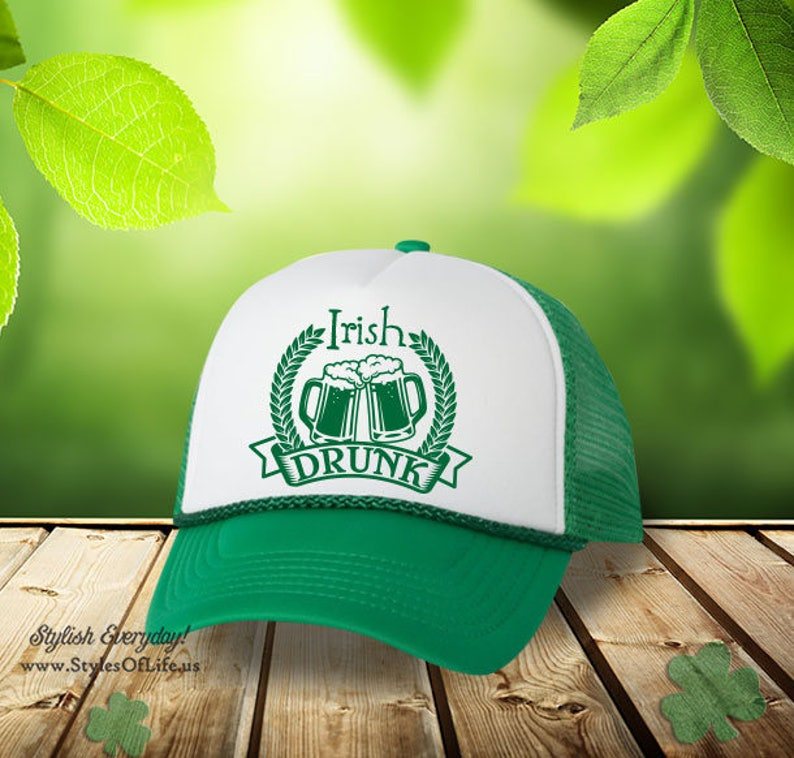 0e23030fdc973 St. Patricks Day Hat Irish Drunk Emblem Irish Hat Shamrock