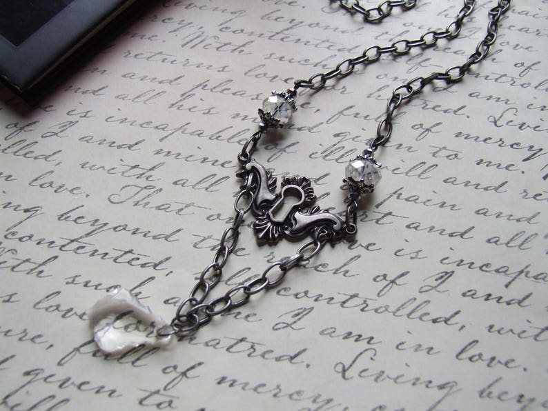 Delicate Silver Victorian Keyhole Necklace  Crystal Bead Neclace  Steampunk  Romantic Jewelry