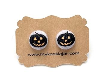 Halloween Pumpkin Face Jack O Lantern Earrings, Jack O Lantern Fabric Earrings, Nickel-free Studs or Clip-ons, Halloween Earrings Handmade