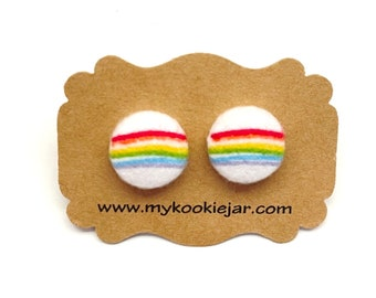 Rainbow Crayon Stripes Fabric Button Earrings, Cute Rainbow Earrings, LGBTQ Pride Earrings, Nickel-Free Studs or Clip-on Earrings, Handmade