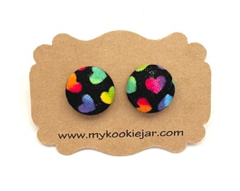 Black Tiny Rainbow Ombre Fabric Button Earrings, Cute Heart Fabric Studs, Nickel-Free Studs or Clip-ons, LGBTQ Pride Earrings, Heart Clip-on