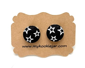 Monochrome Black White Stars Fabric Button Earrings, Stars and Celestial Earrings, Nickel-Free Studs or Clip-ons, Outer Space Stars Studs