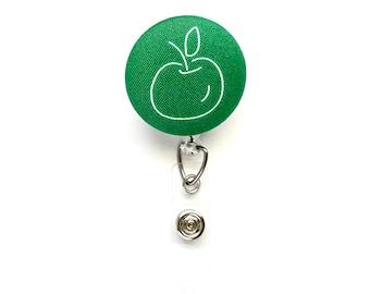Chalkboard Drawing Apple Fabric Button Retractable Badge Reel, Teacher Badge Holder, Teacher Gift Idea, Back to School, Teacher Appreciation