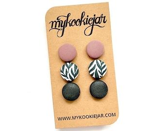 Dusty Mauve Pink, Tropical Leaves, Hunter Green Button Earrings Set, Nickel-Free Earrings, Statement Earrings, Fall Earrings, Neutral Colors