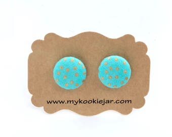 Turquoise & Gold Spots Fabric Button Earrings, Turquoise Studs, Spring Earrings, Girl's Earrings, Nickel-free Earrings, Polka Dot Earrings