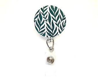 Tropical Leaves Green Fabric Button Retractable Badge Reel, Plant Mama ID Badge Holder, Nurse Hospital Badge Reel, Teacher Student ID Reel