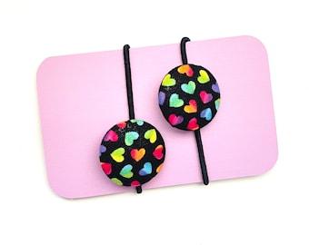 Tiny Hearts Ombre Pastels Fabric Button Hair Ties, Rainbow Ponytail Holders, Cute Rainbow Hearts Fabric Hair Accessory, Girl's Gift Idea