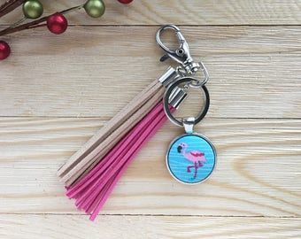 Button with Tassels Keychain, Fabric Covered Button Keychain, Tassel Keychain, Stocking Stuffer, Flamingo Purse Charm, Handmade Gift for Her