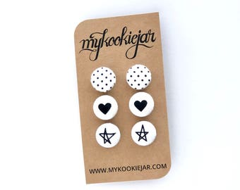 Black White Earrings, Pin Dots, Heart Earrings, Star Earrings, Monochrome Hearts, Star Studs, Black Studs, Monochrome Earrings, Nickel-free