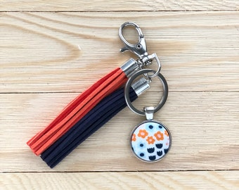 Button with Tassels Keychain, Fabric Covered Button Keychain, Purse Charm, Tassel Charm, Handmade Gift Idea, Orange Blue Floral Keychain