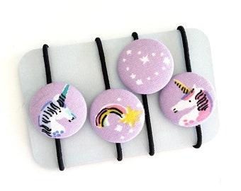 Purple Unicorn Rainbow Heart Hair Ties, Fabric Covered Button, Unicorn Rainbow Girl's Gift Idea, Pastel Unicorn Rainbow Hair Accessories