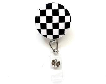 Monochrome Black White Checker Pattern, Black White Checkerboard Fabric Button Badge Reel, Cute Retractable ID Holder, Unisex Race Car Flag