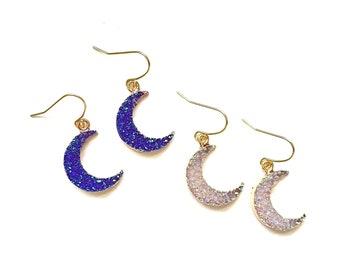 Gorgeous Faux Druzy Moon Crescent Pendant Drop Earrings, Nickel-Free Celestial Drop Earrings, Mermaid Iridescent Violet, Moon Earrings