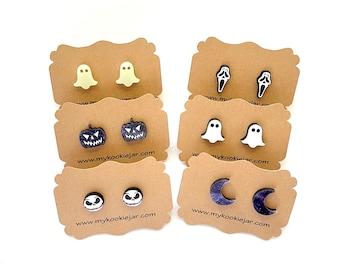 Cute Tiny Shaped Halloween Stud Earrings, Nickel-Free Halloween Cabochon, Ghost, Coffin, Glow in the Dark Studs, Scream Face, Celestial Moon