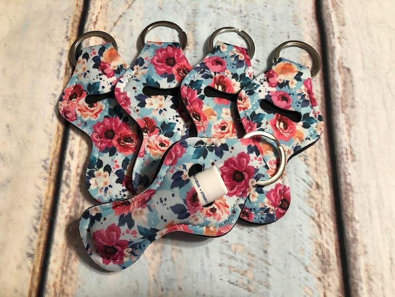 Quantity One Chap stick Key Chain Chapstick Holder Lip Gloss Key Chain Holder Light BLUE with flowers