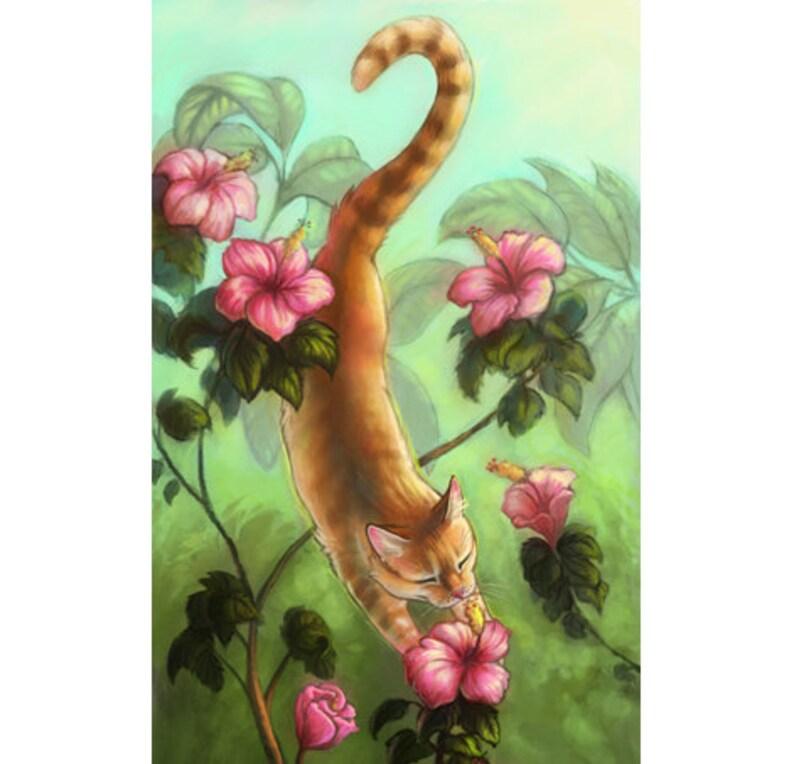 Sammys Gift Artist Print Hibiscus Cat Spirit Tree Etsy
