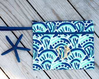 Monogrammed Make Waves Zip Pouch | Bikini Bag | Waterproof Accessory Bag | Bridesmaid Gift | Maid of Honor | Retirement Gift | Make up Bag