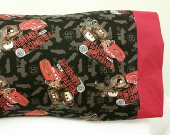 STANDARD Personalized Pillow Case made wtih Cars Lightening McQueen Mater Fabric