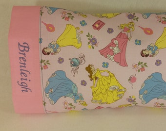 TODDLER/TRAVEL Size Personalized Pillow Case made with Princess Fabric | Daycare Pillow | Preschool Pillow