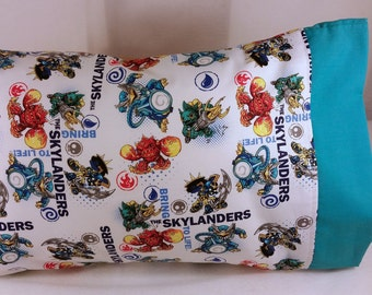 TODDLER/TRAVEL Size Personalized Pillow Case made with Skylanders Fabric | Daycare Pillow | Preschool Pillow