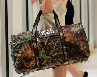 Personalized Mens Camoflauge Duffle Bag | Boys Travel Bag | Gift for Him | Personalized Duffel Bag | Overnight Duffle | Camo Woods | Fishing
