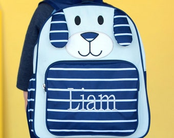 Personalized Backpack | Monogrammed PRE SCHOOL Backpack| Blue Puppy Backpack