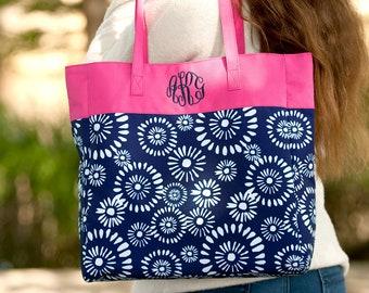 Monogrammed Riley Tote Bag | Teacher Tote | Library Tote Bag | Bridesmaid Gift | Beach Pool Bag