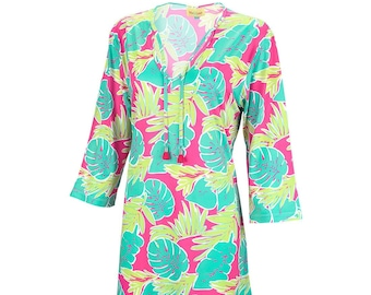 Personalized Woman's Tunic | Totally Tropics Woman's Tunic | Beach Cover up | Size Small Medium Large XL XXL | Bachelorette Party