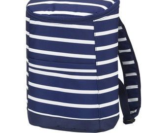 Personalized Beach Cooler | Navy Stripe Backpack Cooler | Large Cooler Bag | Bridesmaid Gift | Graduation Gift | Realtor Gift