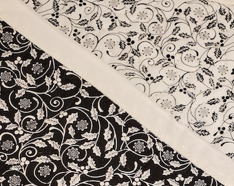 Reversible Quilted Table Runner | Black and White Table Runner | Christmas Table Runner