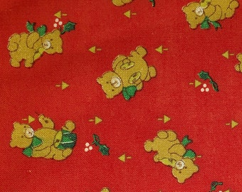 Cotton Fabric   100% Cotton   Christmas Teddy Bears   Fabric for Mask