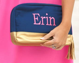 Monogrammed Cabana Cosmetic Bag | Navy Canvas Cabana | Bridesmaid | Teachers Gift | Vegan Leather | Maid of Honor | Mothers Day