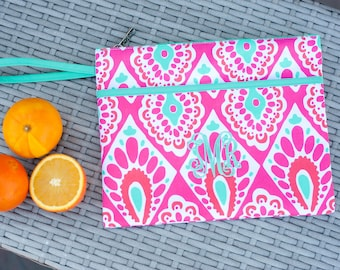 Monogrammed Beachy Keen Zip Pouch | Bikini Bag | Waterproof Accessory Bag | Bridesmaid Gift | Maid of Honor | Retirement Gift | Make up Bag