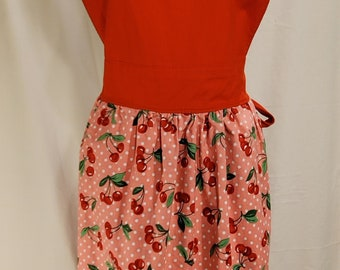 Ladies Reversible Apron | One Size | Salsa Recipe | Cherries