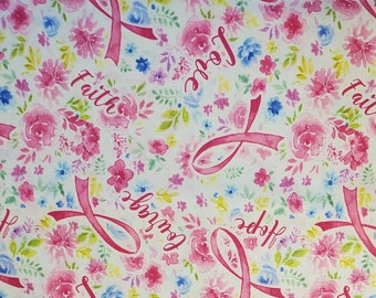 Cotton Fabric Pink Ribbon | 100% Cotton | Fabric for Mask | Breast Cancer | Faith | Love | Hope | Caring