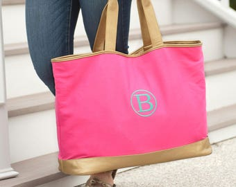 Personalized Cabana Tote Bag | Hot Pink Tote | Bridesmaid | Teachers Gift | Vegan Leather | Maid of Honor | Cheerleader Tote