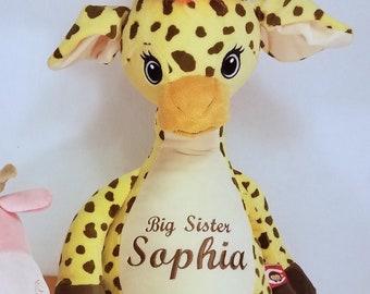 Big Sister Stuffed Giraffe | Flower Girl Gift | Big Brother | Ring Bearer Gift | Personalized Giraffe | Baby Shower Gift | Adoption Day Gift