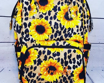 Personalized Diaper Bag | Sunflower Backpack Diaper Bag | New Baby Gift | Baby Shower Gift | Dog Show Bag | Tote Bag