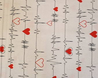 Cotton Fabric Heartbeat | 100% Cotton | Fabric for Mask | First Responder | Nurse Doctor EMS Print