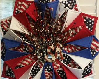 Patriotic Door Wreath or Centerpiece - Forth of July Decor