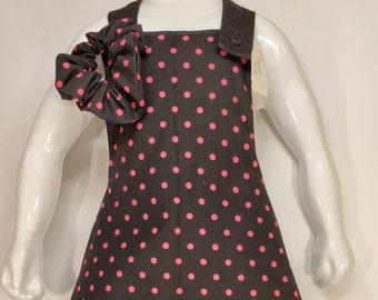 Child's Apron | Toddler Girls Apron | Size 3 -4 | Black with Pink Polka Dots