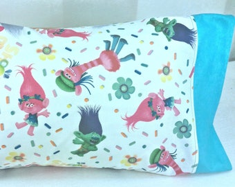 TODDLER / TRAVEL Personalized Pillow Case made with Trolls Fabric | Daycare Pillow | Travel Pillow | Preschool |
