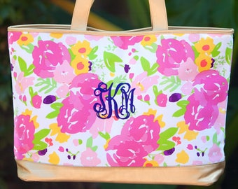 Personalized Cabana Tote Bag | Floral Tote | Bridesmaid | Teachers Gift | Vegan Leather | Maid of Honor | Cheerleader Tote