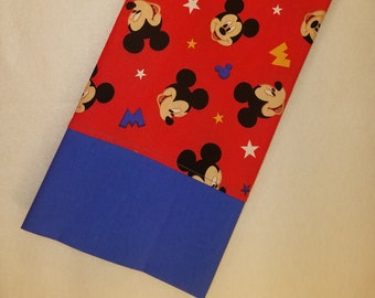 STANDARD Personalized Pillow Case made with Mickey Mouse on red Fabric