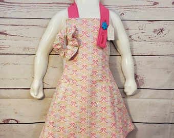 Child's Apron | Girls Apron | Size 5 - 6 | Pink with Bows