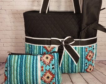 Personalized Diaper Bag | Adobe Sky Black Trim Diaper Bag | New Baby Gift | Baby Shower Gift